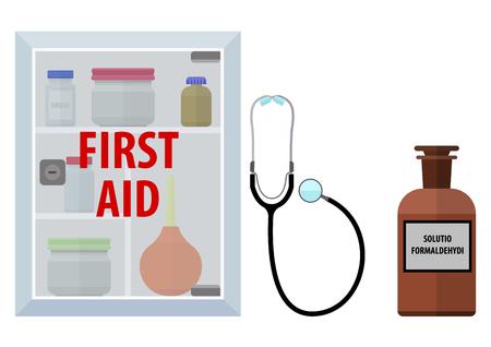 firstaid: Primeros auxilios. ilustraci�n vectorial. Aislado en el fondo blanco