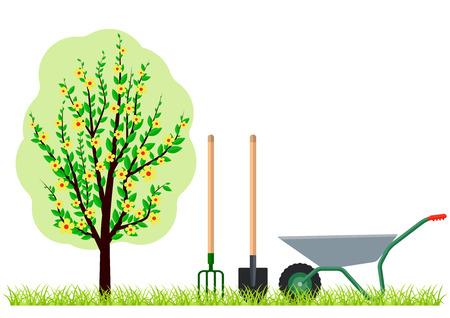Giardinaggio albero carriola vanga e forcone. Eps10 illustrazione vettoriale. Isolato su sfondo bianco Vettoriali