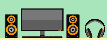 sounding: Computer monitor with keyboard acoustic loudspeaker and headphones. Illustration