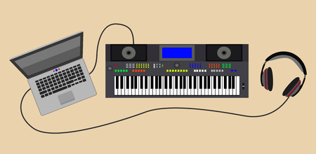 sounding: Sound synthesizer with headphones and laptop. Eps10 vector illustration Illustration