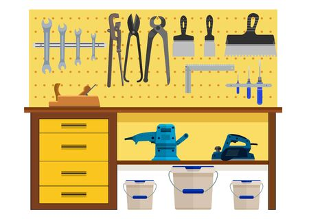 planer: Working table with spanner planer scissors palette knife pincers. Eps10 vector illustration. Isolated on white background