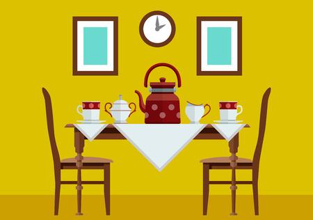 ingestion: Kitchen kitchen table with and tea service. Eps10 vector illustration Illustration