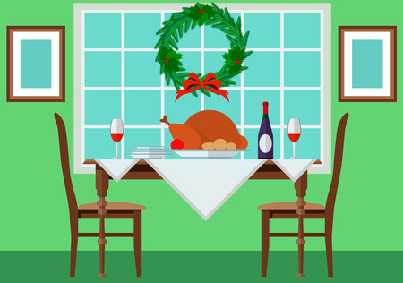 spirituous: Festive table with turkey and vintage.  Illustration