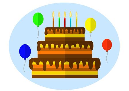 sweetmeats: Torta festiva con la vela. ilustraci�n vectorial. Aislado en el fondo blanco