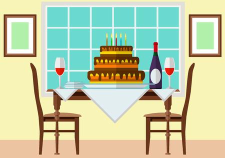 sweetmeats: Pastel y el vino en la mesa de fiesta. ilustraci�n vectorial