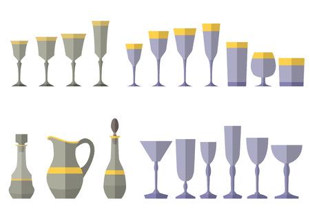 pellucid: Crystal service of glass decanter jug. Eps10 vector illustration Illustration