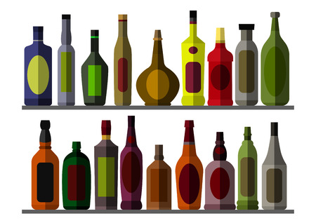 Collection bottle for alcoholic.  vector illustration. Isolated on white background