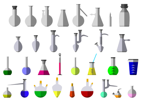 tare: Flask and test-tube for chemical reagent. Eps10 vector illustration. Isolated on white background Illustration
