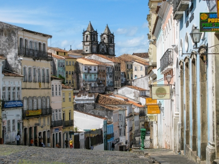 old building facade: Old town of Salvador de Bahia, Brazil  Editorial