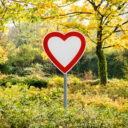 A heart in the shape of a road sign stands alone in a forest. Stock Photo