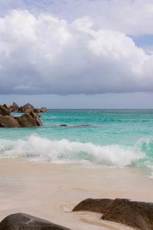 Dream beach on the island of Praslin, Seychelles, Indian Ocean. Stock Photo