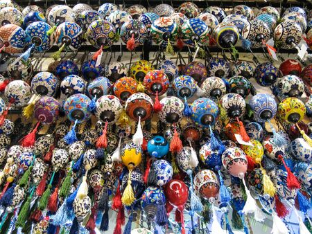 Colored bubbles at a market stall in Istanbul. Stock Photo