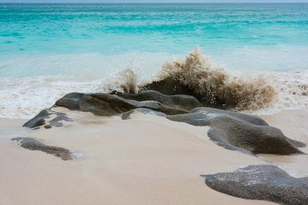 Dream beach on the Iceland of Praslin Seychelles Indian Ocean detail.