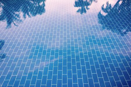 Blue tiled floor of a pool under clear water, in which sky and palm trees are reflected