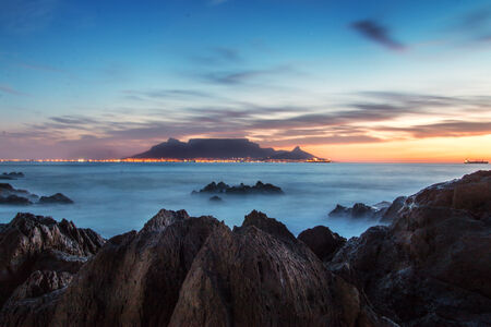 Twilight seascape overlooking Table Mountain Stock Photo