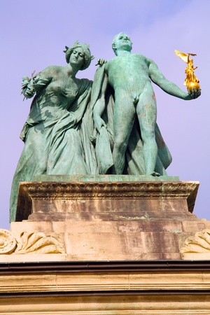 millennium: A statues from millennium monument in the famous square of heroes in Budapest, in Hungary  Stock Photo
