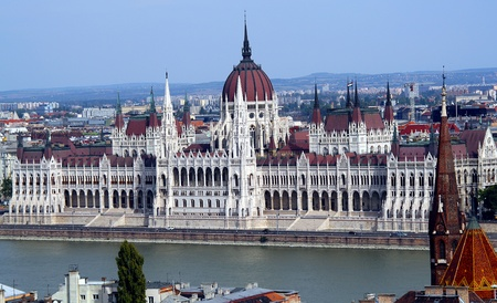neogothic: Hungarian parliament on the river Danube - top view from Buda Castle  Stock Photo