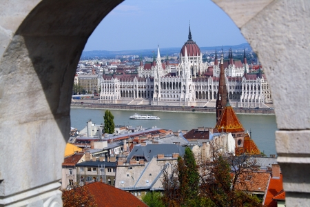 national cultures: Budapest - top view from Fishermans bastion
