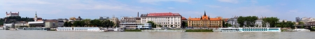 Bratislava - Embankment of the river Danube - Panoramic photo of Old city