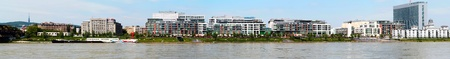 interst: Bratislava - Embankment of the river Danube - Panoramic photo of the River park and modern city Stock Photo