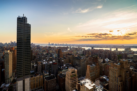 hudson river: Evening view from a high building of Midtown, New York City with Hudson River Stock Photo