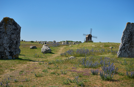 megaliths: Megaliths and mill, Isle if Oeland, province Kalmar, Sweden