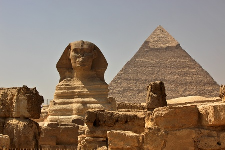 The Great Sphinx of Giza, with the Pyramid of Khafra in the background photo