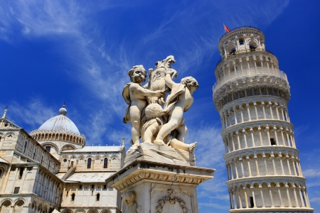 church tower: The Province of Pisa is a province in the Tuscany region of Italy. Pisa is well known for the famous Leaning Tower of Pisa Stock Photo