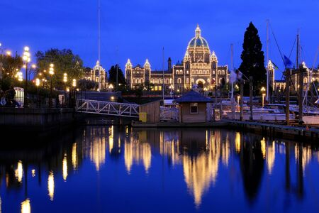 british columbia: Night view of the harbour downtown Victoria