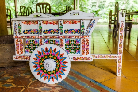 costa rican: Traditional decorated,Costa Rican ox cart Stock Photo