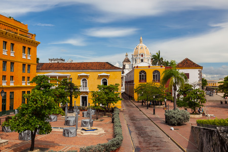 caribe: Colonial architecture downtown Cartagena, Colombia Stock Photo