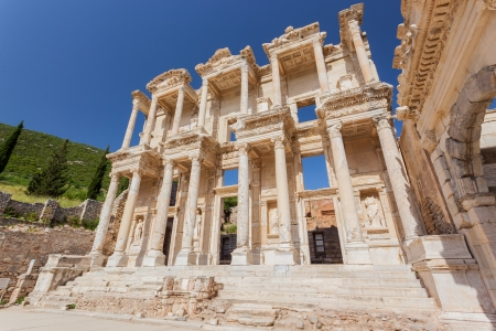 architrave: Library ruins in Ephesus, Turkey Stock Photo