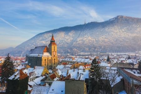 Winter-Szene, Brasov Rumänien Standard-Bild - 24752210