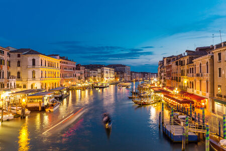 campanille: Night view of the Grand Canal from the Rialto bridge, Venice Italy Stock Photo