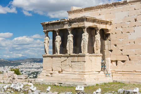 demos: Detail of the south porch of Erechtheion with the Caryatids Stock Photo