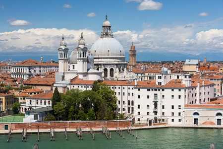 campanille: Basilica Saint Mary of Health, Venice Italy Stock Photo