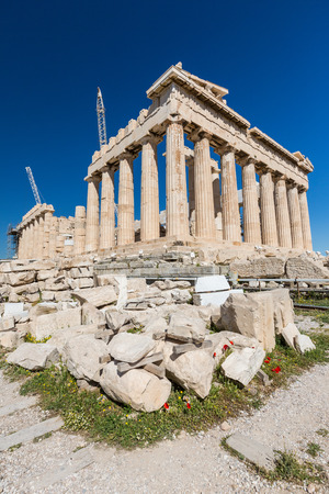 demos: The southern side of the Parthenon being restored, Athens Greece