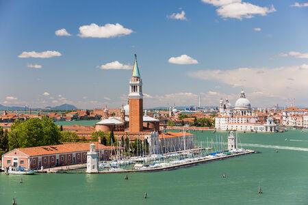 campanille: San Giorgio Maggiore Island and Giudecca Canal, Venice Italy Stock Photo