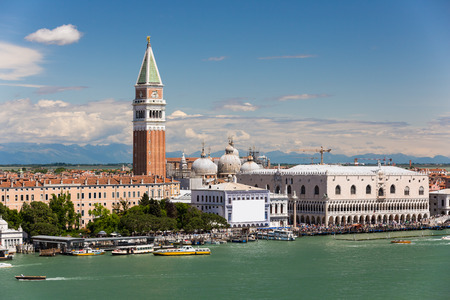 campanille: St Marks bell tower and Doges palace seen from the Giudecca canal