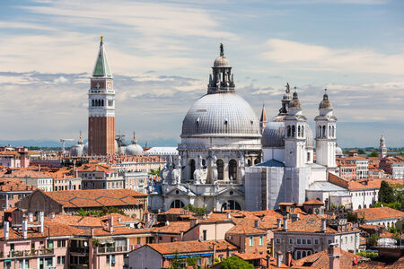 campanille: Basilica Saint Mary of Health and St Marks bell tower, Venice Italy