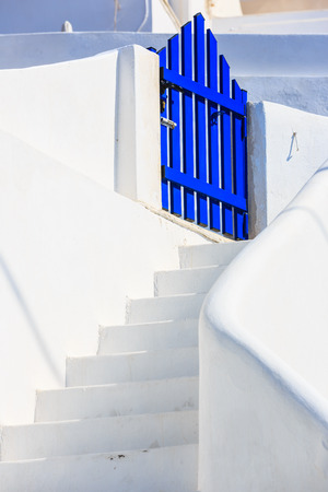 blue gate at Santorini, Greece photo