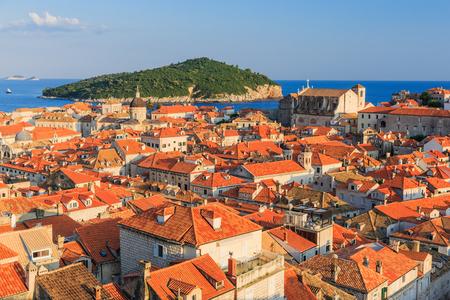 Rooftops at sunset, Dubrovnik Croatia photo