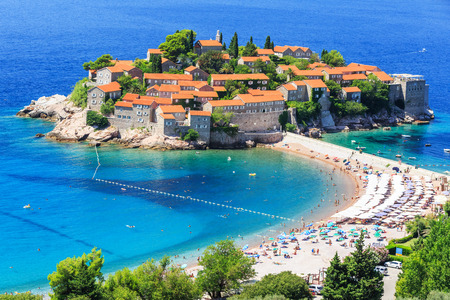budva: Sveti Stefan island in Budva, Montenegro Stock Photo