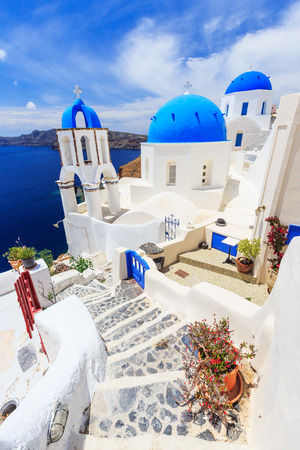classical greece: Steps and church in Oia village, Santorini Greece