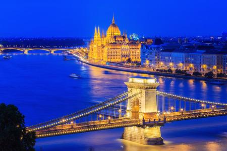 szechenyi: The Szechenyi Chain Bridge and Parliament Building, Budapest Hungary