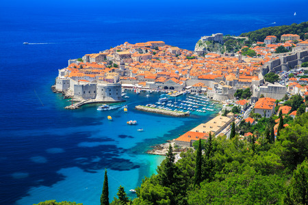 Panoramic view of old town Dubrovnik, Croatia