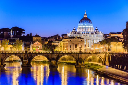 tiber: Night view of St Peter Basilica and Tiber river in Rome, Italy