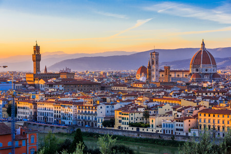 Palazzo Vecchio, the Cathedral and the Brunelleschi Dome at sunset, Florence Italy.