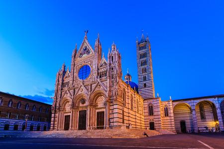 siena: The Cathedral of Siena (Duomo di Siena) at twilight, Italy Stock Photo