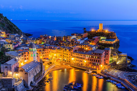 vernazza: Vernazza village at twilight. Cinque Terre National Park, Liguria Italy. Stock Photo
